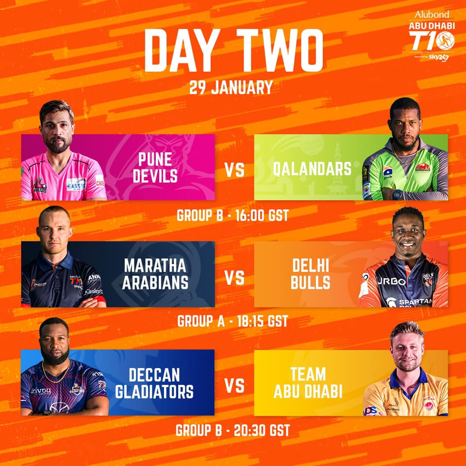 Abu Dhabi T10 League: The second round of the group stages at the Abu Dhabi T10 League.