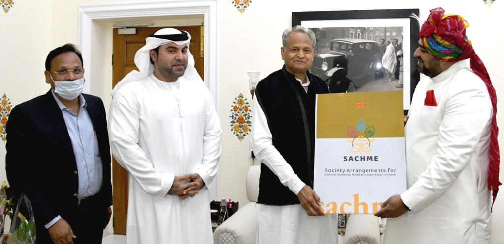 Chief Minister of Rajasthan Shri Ashok Gehlot supports SACHME a unique religious concept designed by Shri Anurag Maheshwari during the visit to the Pink City.